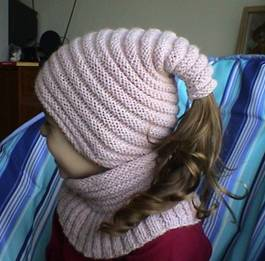 hat and round scarf